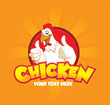 A happy funny Cartoon Rooster chicken giving a thumbs up with two hand on orange background, vector logo illustration - 164939747