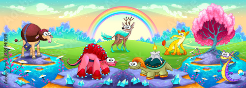 Foto op Canvas Kinderkamer Fantasy animals in a landscape of dreams