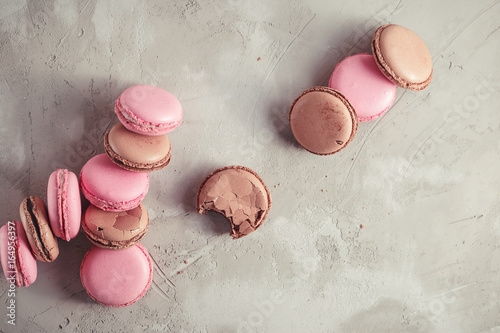 Top view of Raspberry and Chocolate Macarons