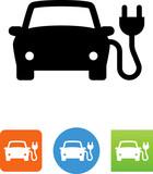 Car With Electric Plug Icon - Illustration