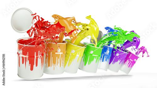 Bunte Farbeimer in Farben vom Regenbogen