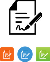 Document With Pen And Signature Icon - Illustration