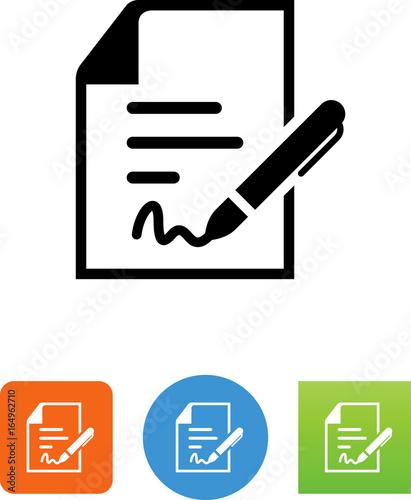Dokument Z Pióra I Podpisu Ikoną - Ilustracja