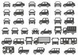 シンプルな車の正面と横(グレーシルエット) - 164968125