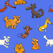 cartoon pattern with dogs - 164968715