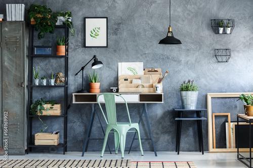 Loft office with vintage decor