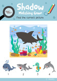 Shadow matching game by finding the correct picture of Angry Shark animals for preschool kids activity worksheet colorful printable version layout in A4 vector illustration - 164970702