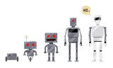 Evolution Of Robots Stages Of Android Development Cartoon  Illustration    Evolution Of Robots From Simple Metal Box Machinery To Modern Android Cartoon Style Set Wall Sticker