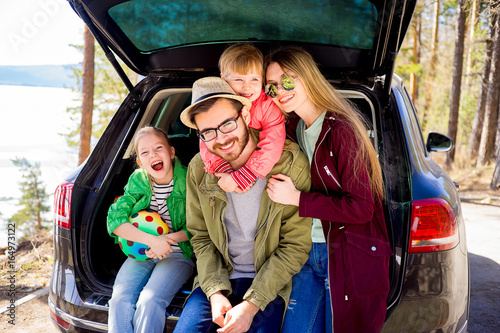 Family going on a car trip