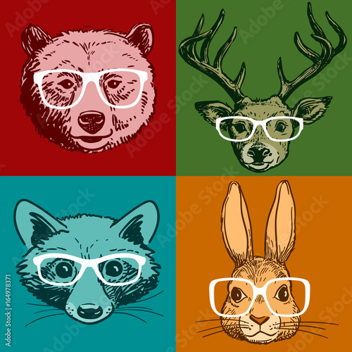 Aluminium Hipster Hert Hipster animal portraits, pen and ink bear, deer, raccoon, bunny