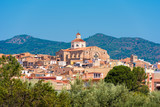 View of Mont-roig del Camp and the church of St. Miguel, Tarragona, Catalunya, Spain. Copy space for text.