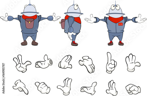Cartoon character cute robot for a computer game. Set Illustration