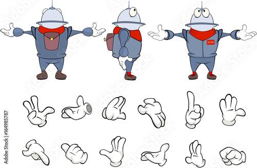 Foto op Aluminium Babykamer Cartoon character cute robot for a computer game. Set Illustration
