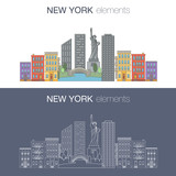New York flat vector banner