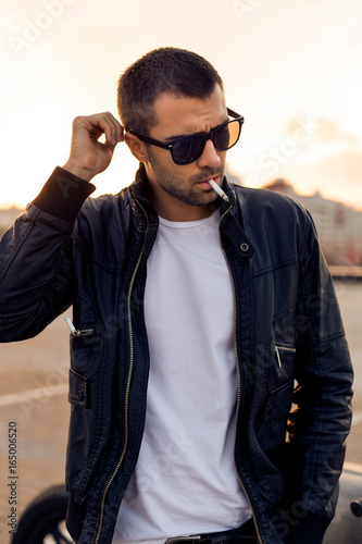Handsome Rider Guy With Beard And Mustache In Black Biker Jacket