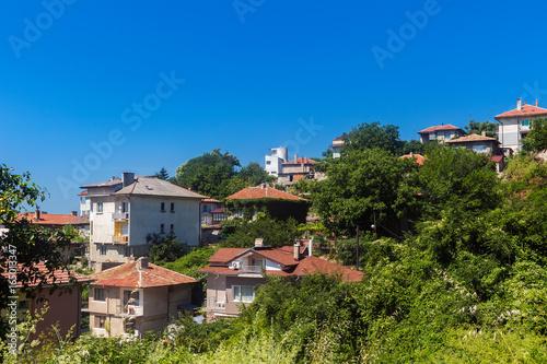 Cityscape of balchik town, houses on the hill, black sea coast in Bulgaria