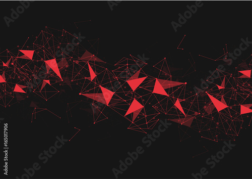 Red Abstract polygonal space low poly background with connecting dots and lines. Connection structure. Vector Illustration