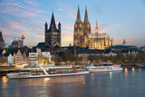 Aerial view Cologne over the Rhine River with cruise ship in Cologne, Germany. - 165021920