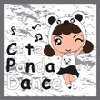 Kid t shirt design vector cartoon with cute panda girl and musical notes suitable for girl t shirt background, wallpaper, and backdrop - 165026375