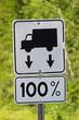 Closeup of a 100% weight allowance road sign
