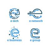 set of e initial Technology Logo designs template