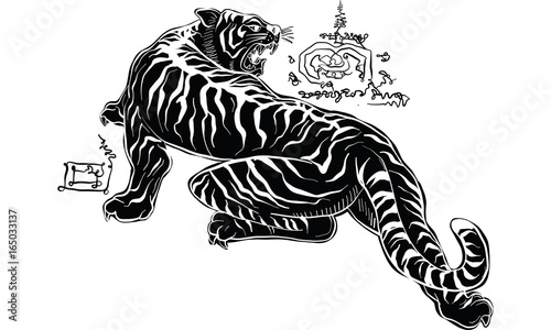 Thai traditional painting, tiger - 165033137