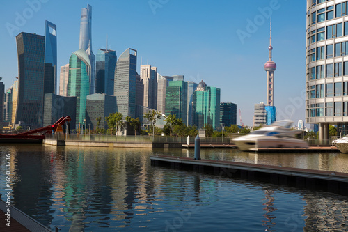 Sunny sky at city building of Shanghai skyline