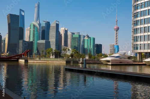 Tuinposter Shanghai Sunny sky at city building of Shanghai skyline