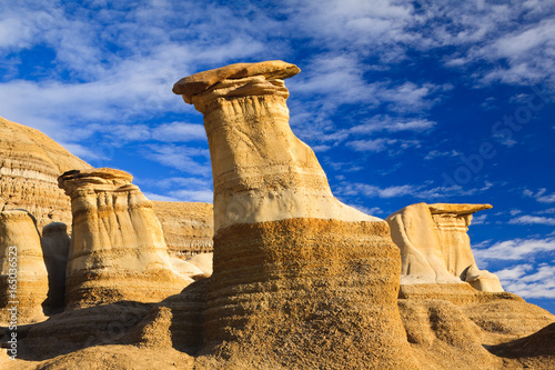 Hoodoos in the badlands near Drumheller, Alberta, Canada Poster