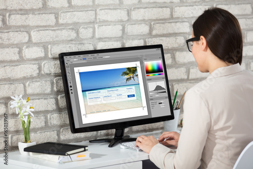 Fototapeta Creative Young Woman Working On Computer