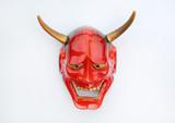 Traditional Japanese mask of a demon, Kabuki Mask on white background.