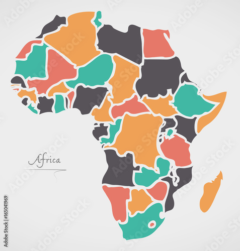 Plakát Africa Continent Map with states and modern round shapes