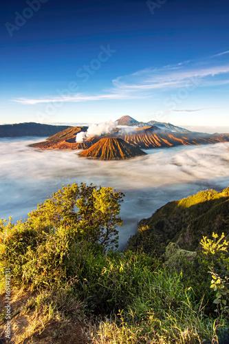 Foto op Plexiglas Indonesië Bromo volcano national park with sunrise sky background and fog landscape