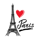 Symbol France-Eiffel tower, heart and word Paris. French capital Paris. Vector sketch illustration.