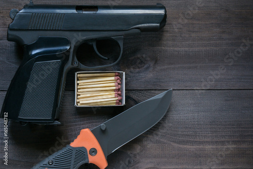 survival kit for tough man. gun, knife, matches Poster