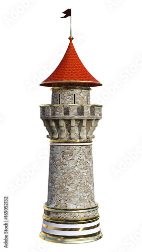 3D Rendering Fairytale Tower on White - 165052132