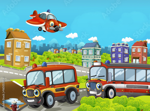Cartoon stage with different machines for firefighting - colorful and cheerful scene - illustration for children - 165055956