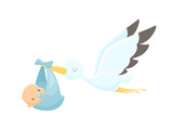Cartoon stork carrying baby vector illustration - 165057798