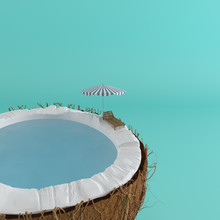 A Half Coconut  Sea Water Inside And Sun Lounger On The Edge On Pastel  For Summer Relax Concept 3d Rendering Sticker