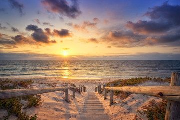 Pathway to beach and sunset in Western Australia