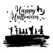 Silhouette of Children go trick-or-treating on Halloween, vector - 165071333