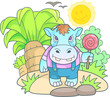 Cartoon cute hippopotamus funny image