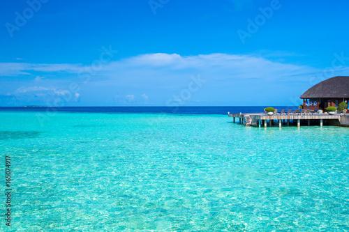 Spoed canvasdoek 2cm dik Turkoois beach in Maldives