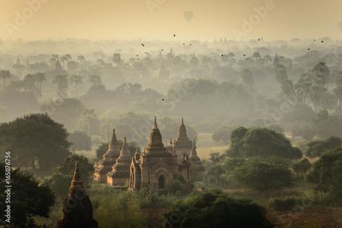 Sunrise scene at pagoda ancient city field in Bagan Myanmar. Poster