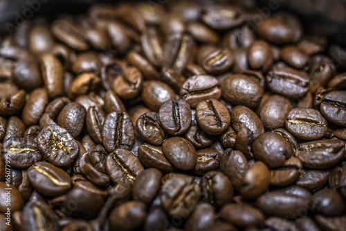 Closeup on a group of coffee beans, the best coffee in the world
