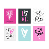 Valentine's day hand drawn calligraphy and illustration vector set.