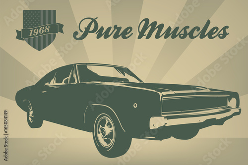 Aluminium Vintage Poster Vintage american muscle car poster