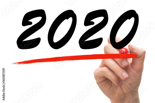 Poster Hand drawing a red line underneath the year 2020