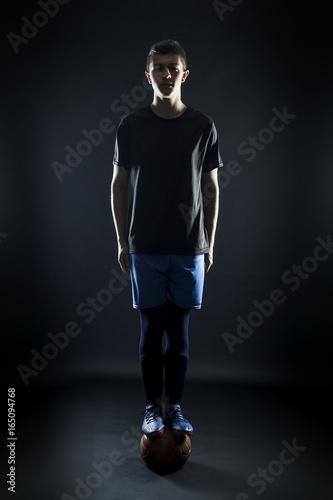 football player on ball