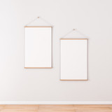 Two Vertical Roll up Posters Mockup hanging on the wall in empty room, 3d rendering - 165104576